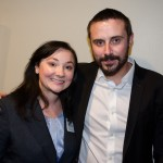 """Peace Action Chair, Liz Turchi takes a picture with Jeremy Scahill."""